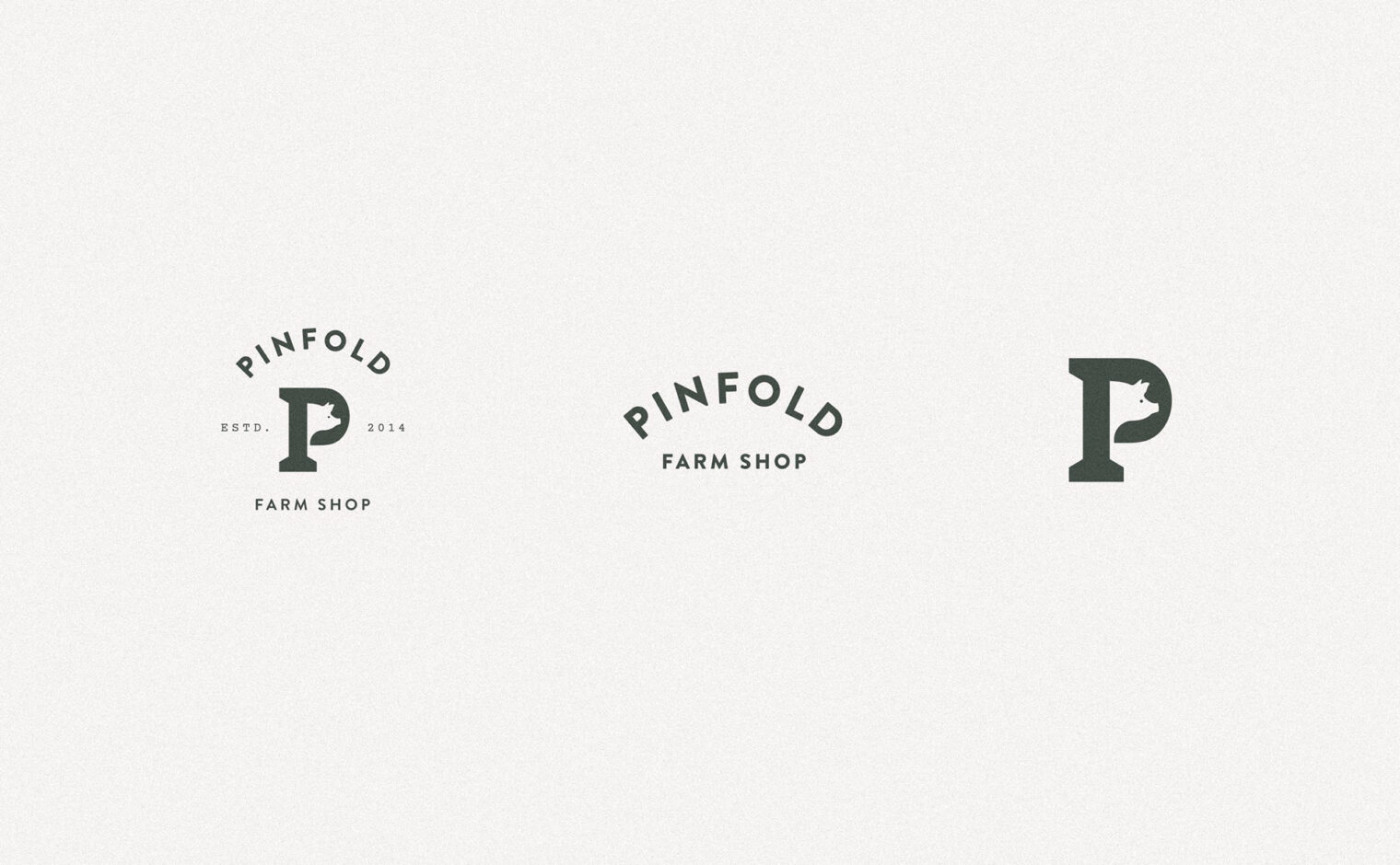 Pinfold Farm Shop logo variations