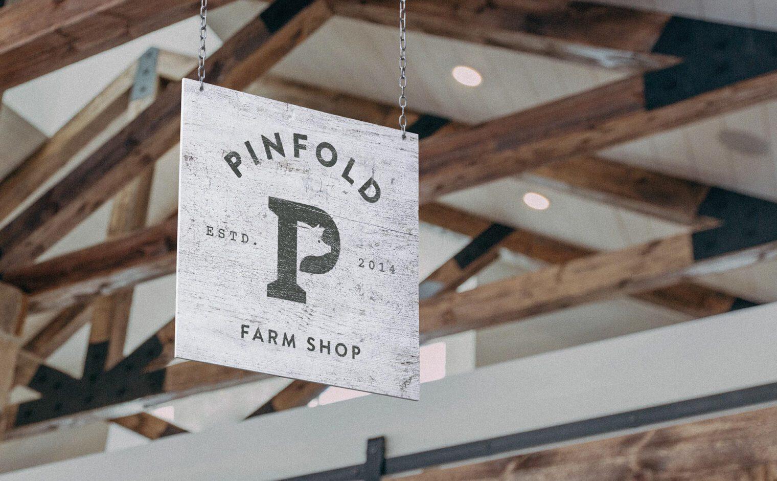 Pinfold Farm Shop internal wooden hanging sign