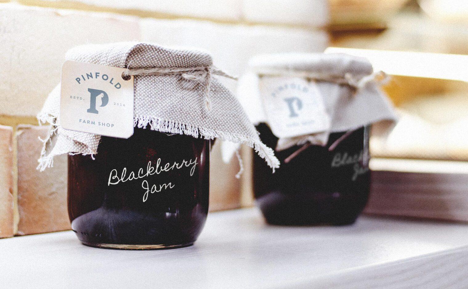 Pinfold Farm Shop homemade blackberry jam packaging