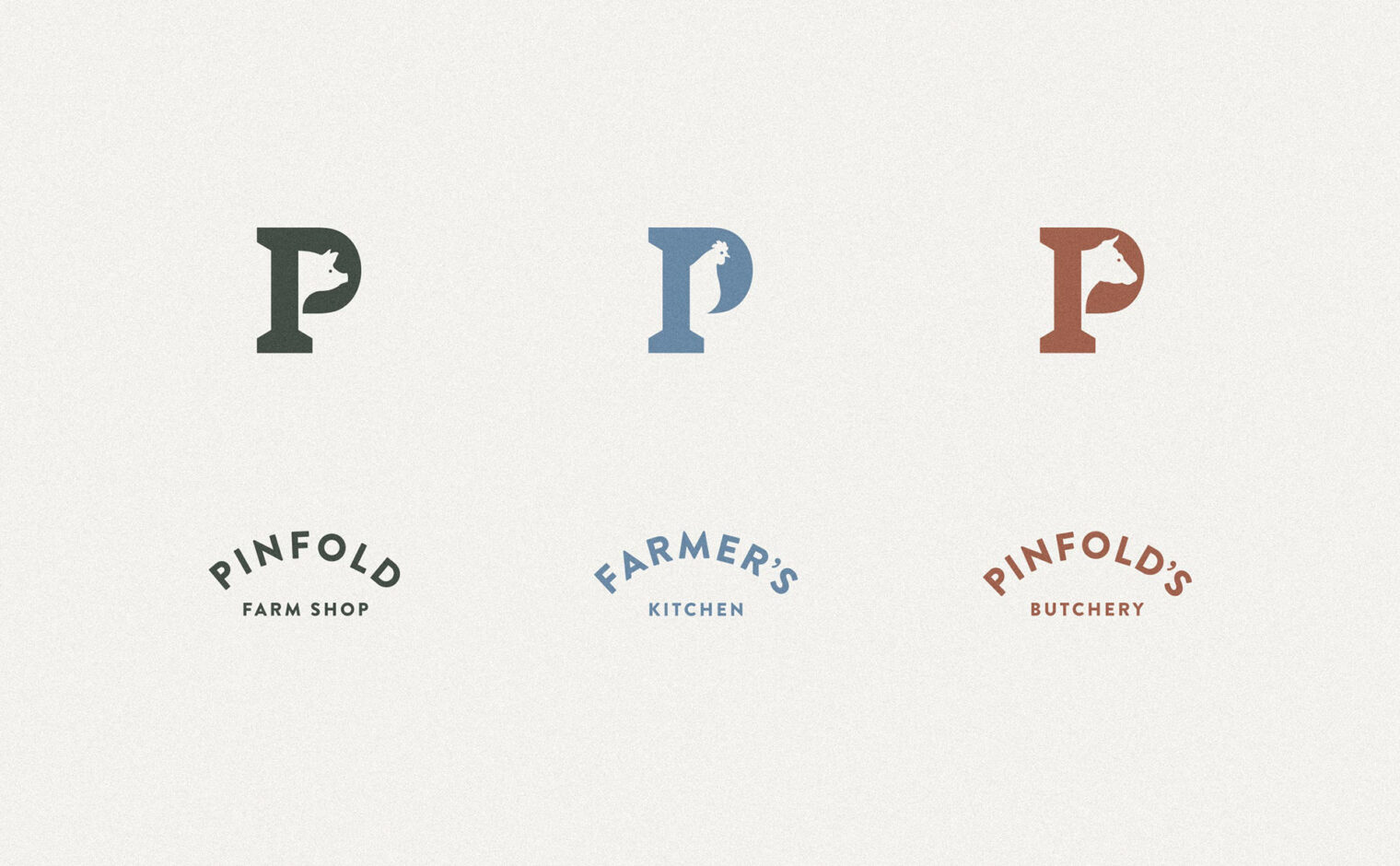 Pinfold Farm Shop - Logo variations for Farm Shop, Farmer's Kitchen and Butchery