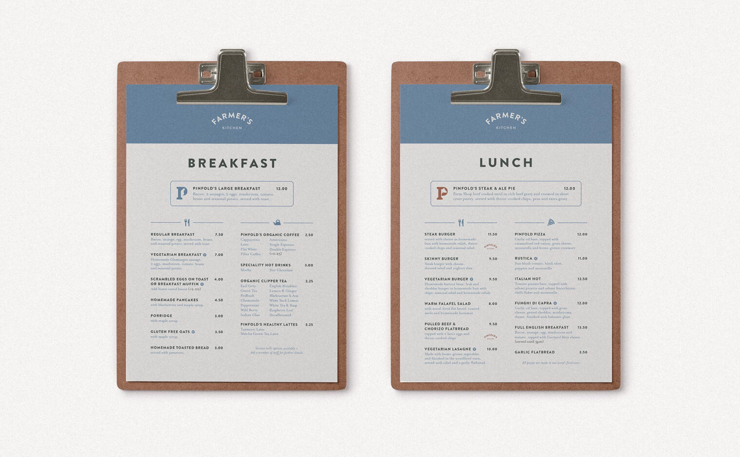 Pinfold Farm Shop breakfast and lunch menus on clipboards