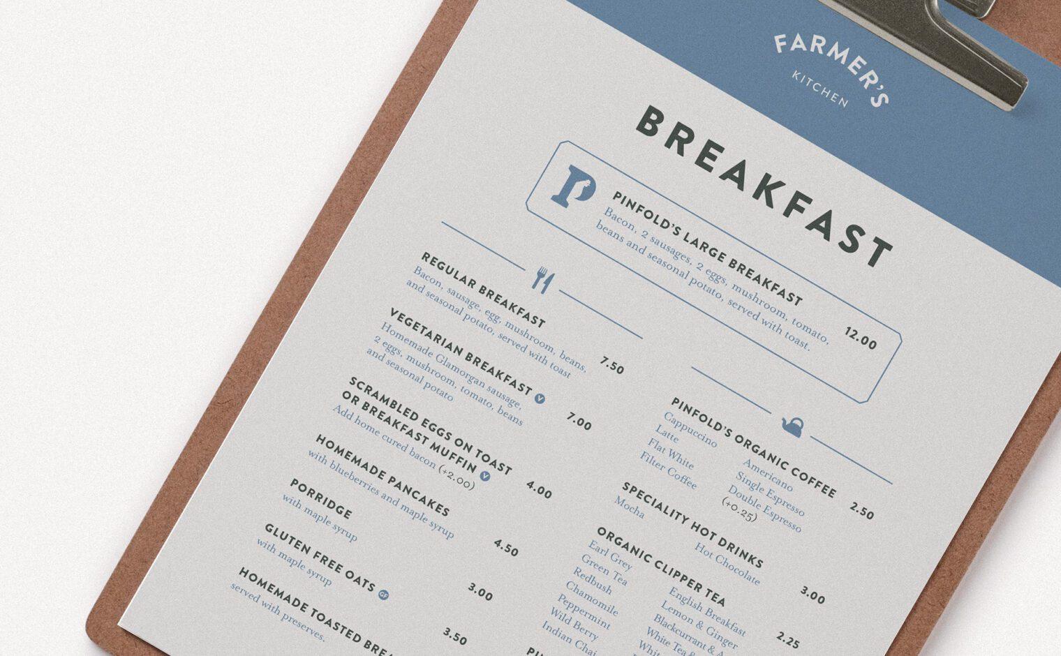 Pinfold Farm Shop breakfast menu detail