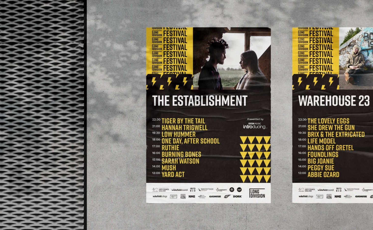 Long Division Festival venue line-up posters for The Establishment and Warehouse 23, Wakefield