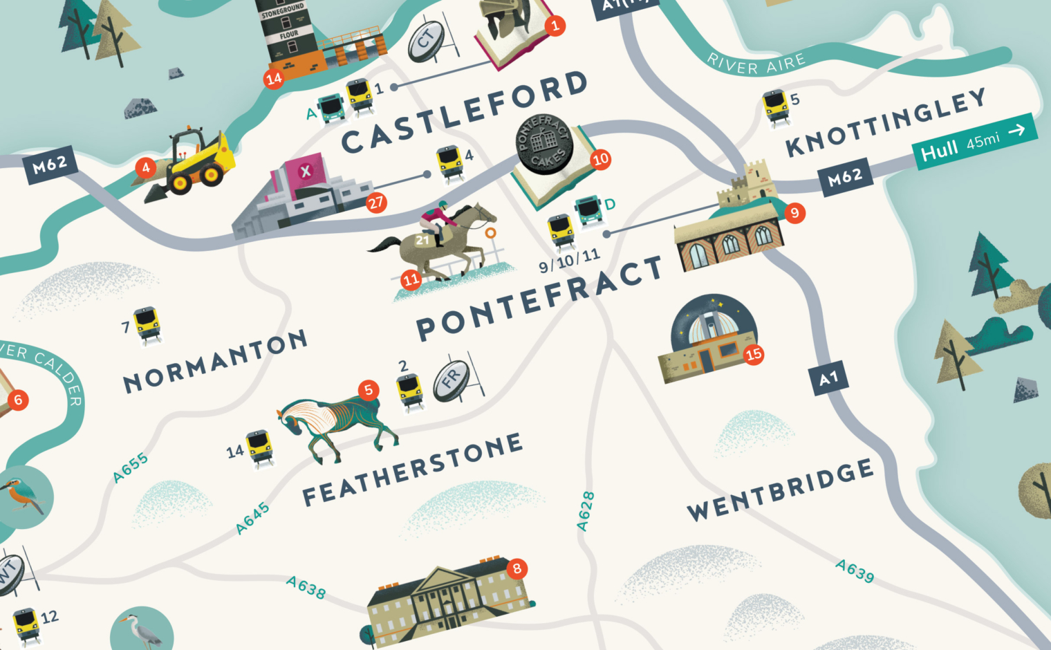 Illustrated map of Wakefield District - Detail